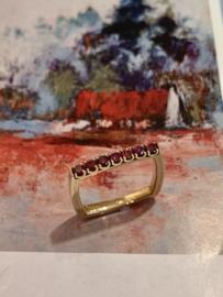 Vierkanten ring roze diamant