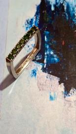 Vierkanten ring groene diamant