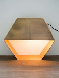 Zeshoekige tafellamp messing