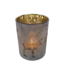 Waxinelichthouder rendieren, brons 8 x 7 cm