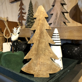 Houten kerstboom, hout/zilver/grijs. 23 x 13 x 3,5 cm
