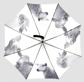 Paraplu koe, schaap, varken en kip (zwart/wit)