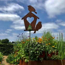 Vogeltjes op huisje, tuinsteker, 42 x 30 x 160 cm, Roest Metaal Decoratie