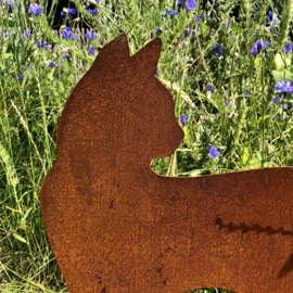 """Kat """"Minoes"""" met vlinder op de staart, 50 x 41 cm, Roest Metaal Decoratie"""