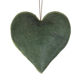 Hart groene vacht, leer (groot) 18 x 19 cm