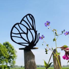Vlinder op ronde plaat voor waxinelicht, roest metaal, 10 x 6 cm