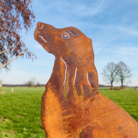 Hondje op tuinsteker, 54 x 22 x 34 cm. Ecoroest | Decoroest