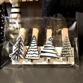 Kerst wasknijpers, set van 4