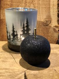 Appel met gouden steeltje zwart glitter 8 x 8 cm