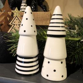 Kerstboom (set van 2) zwart wit, 17 x 6,5 cm