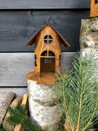 Vogelhuisje met ophaalbrug, 22 x 19 cm. Ecoroest | Decoroest