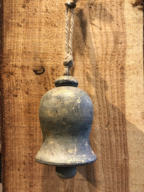 Bel van hout, groen en goud, 11 x 17 cm