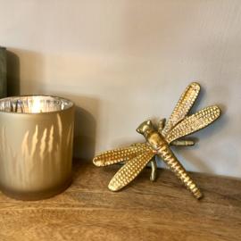 Libelle op pootjes, 13 x 9 x 5 cm, goud-oker metaal