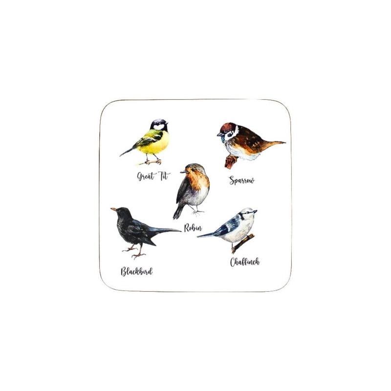 """Onderzetter """"tuin vogels""""  (6 stuks per set)"""