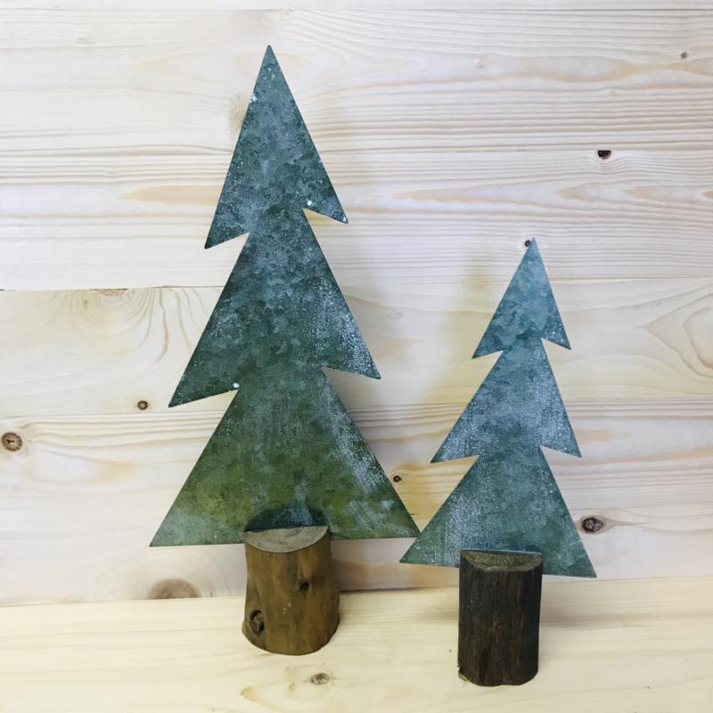Kerstboom metaal/hout 29 x 13 cm