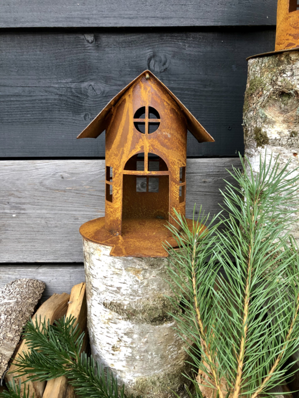 Vogelhuisje met ophaalbrug, 22 x 19 cm. Ecoroest   Decoroest
