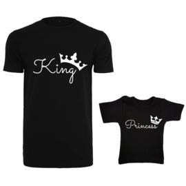 Twinning set - herenshirt & baby shirt - King - Princess