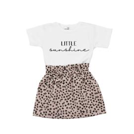Shirt Little Sunshine | Rokje Leopard Old Pink