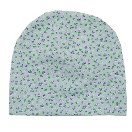 Beanie | Mini Flower | Old Green | Handmade
