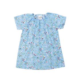 Cotton Summer Dress | Flowerprint light Blue | Handmade