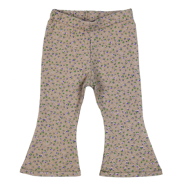 Flared Pants   Mini Flower Taupe   Handmade