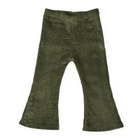 Flared Pants | Cotton Rib | Khaki | Handmade