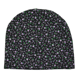 Beanie | Mini Flower | Black | Handmade