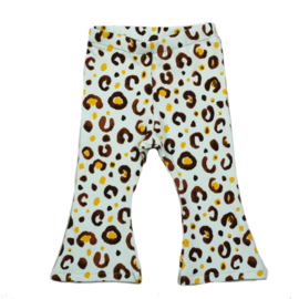 Flared Pants   Leopard Light Mint   Handmade
