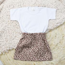Shirt Basic | Rokje | Leopard Taupe