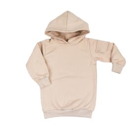 Hoodie dress met zijzakje | Sandstone | Handmade