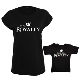 Twinning set - Dames shirt & Baby shirt - Mrs. Royalty & Little Miss Royalty