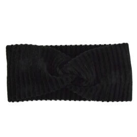 Haarband Twist   Rib Black   Handmade
