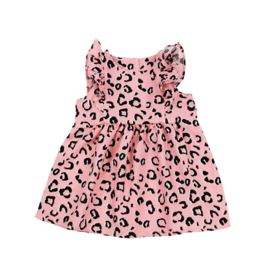 Ruffle Dress | Leopard Peachy Pink | Handmade
