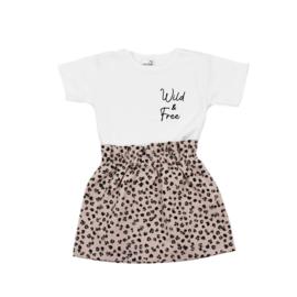 Shirt Wild & Free | Rokje Leopard Old Pink