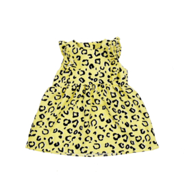 Ruffle Dress | Leopard Yellow | Handmade