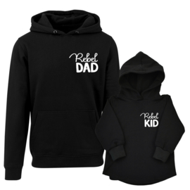 Twinning hoodies | Rebel Dad | Rebel Kid | Black