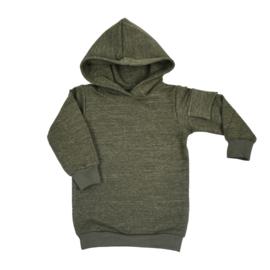 Hoodie dress met zijzakje | Military Olive | Handmade