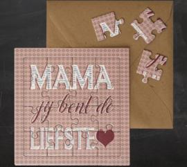 """puzzel kaart """"Mama je bent de liefste"""