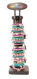 Turq./roze armbandjes met zilver