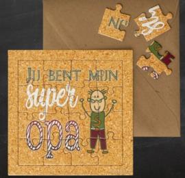 """puzzel kaart """"Super Opa"""""""