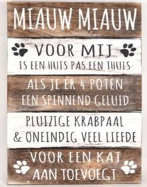 Tekstbord Miauw Miauw
