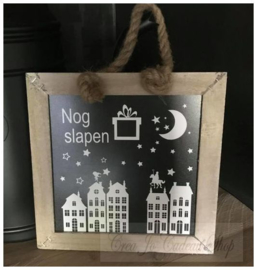 Sinterklaas krijtbord met houtkleur omlijsting