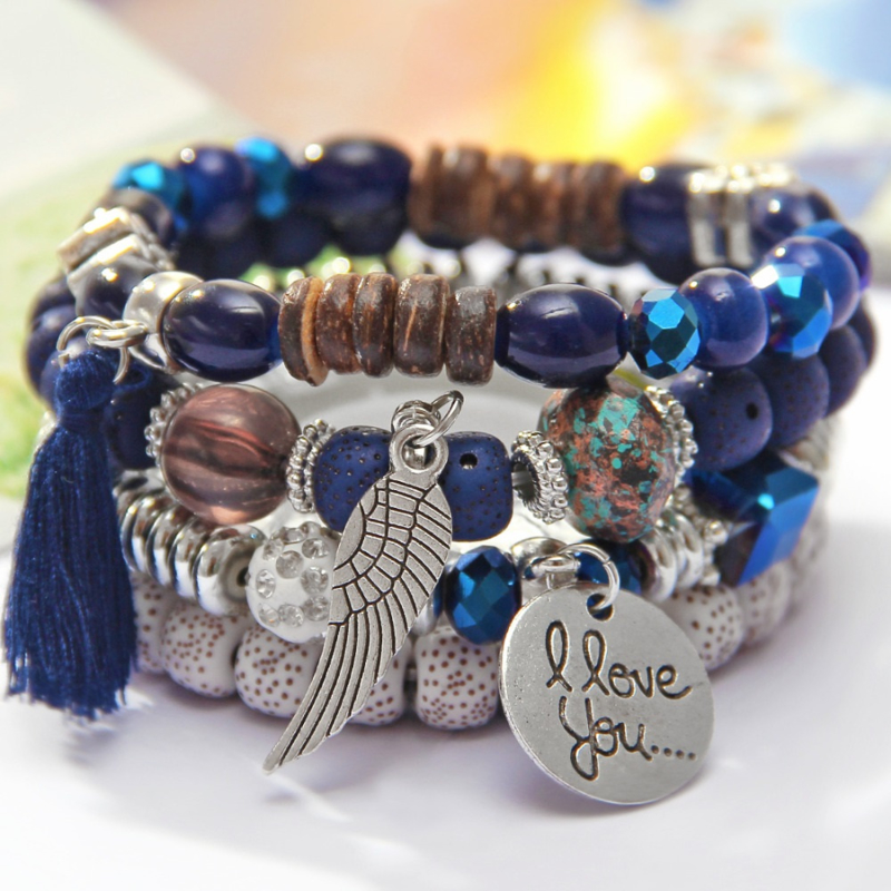 Crystal armband blauw