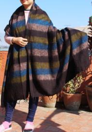 Luxe bruinblauw gestreepte handgeweven wollen sjaal/omslagdoek