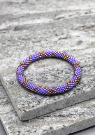 Glaskralen armband - paars, goud