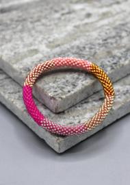 Glaskralen armband - roze, veelkleurig