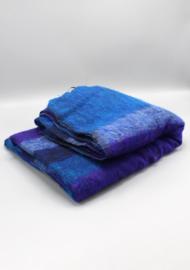 Luxe blauwpaars gestreepte handgeweven wollen sjaal/omslagdoek
