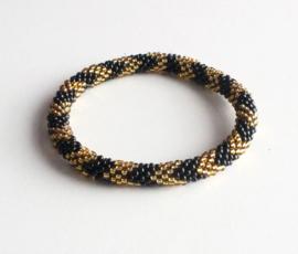 Glaskralen armband - goud en zwart