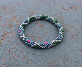 Glaskralen armband - blauw, groen, wit