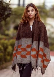Handgeweven wollen sjaal - Grijsoranje